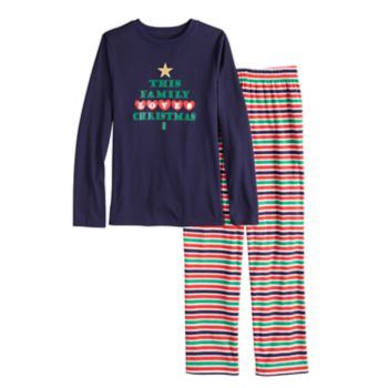 """Boys 4-20 Jammies For Your Families """"This Family Loves Christmas"""" Top & Microfleece Striped Bottoms Pajama Set"""