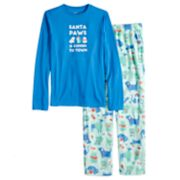 "Boys 4-20 Jammies For Your Families ""Santa Paws is Coming to Town"" Top & Microfleece Dog & Cat Pattern Bottoms Pajama Set"