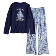 "Boys 4-20 Jammies For Your Families Holiday Camouflage ""Wander in a Winter Wonderland"" Top & Microfleece Bottoms Pajama Set"