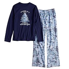 Boys 4-20 Jammies For Your Families Holiday Camouflage 'Wander in a Winter Wonderland' Top & Microfleece Bottoms Pajama Set