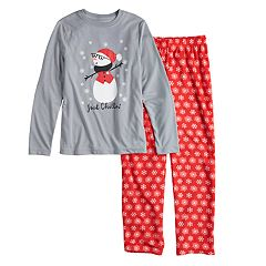Boys 4-20 Jammies For Your Families Snowman & Snowflakes 'Just Chillin'' Top & Microfleece Bottoms Pajama Set
