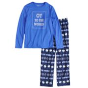 "Boys 4-20 Jammies For Your Families Hanukkah ""Oy to the World"" Top & Microfleece Bottoms Pajama Set"