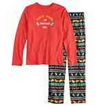 """Boys 4-20 Jammies For Your Families """"Guacin' Around the Christmas Tree"""" Top & Holiday Taco Party Fairisle Bottoms Set"""
