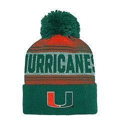 Adult adidas Miami Hurricanes Pom Cuffed Beanie