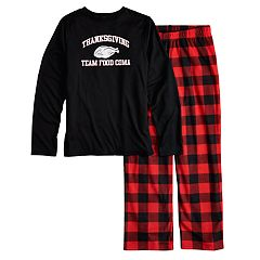 Boys 4-20 Jammies For Your Families Thanksgiving 'Team Food Coma' Top & Buffalo Checkered Microfleece Bottoms Pajama Set
