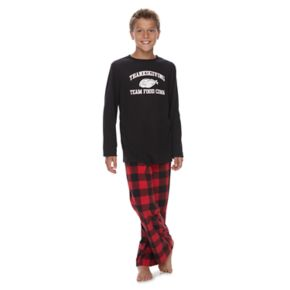 "Boys 4-20 Jammies For Your Families Thanksgiving ""Team Food Coma"" Top & Buffalo Checkered Microfleece Bottoms Pajama Set"