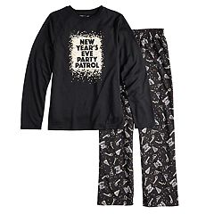 Boys 4-20 Jammies For Your Families New Year's Eve 'Party Patrol' Top & Microfleece Bottoms Pajama Set