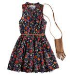 Girls 7-16 Knitworks Floral Skater Dress & Purse Set