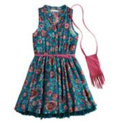 Girls 7-16 Knit Works Floral Skater Dress & Purse Set