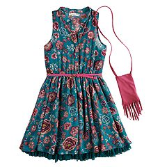 Girls 7-16 Knit Works Floral Skater Dress & Purse Set