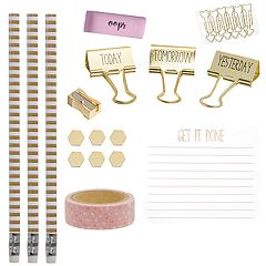 Laura Ashley Lifestyles Desk Note Pad, Binder Clip & Pencil 15-piece Set