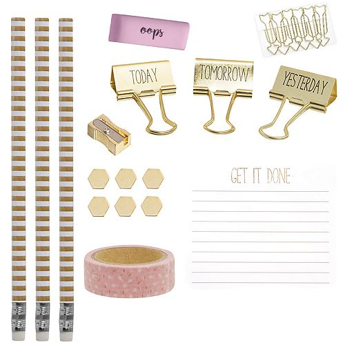 Laura Ashley Lifestyles Desk Note Pad, Binder Clip & Pencil 15-piece Set