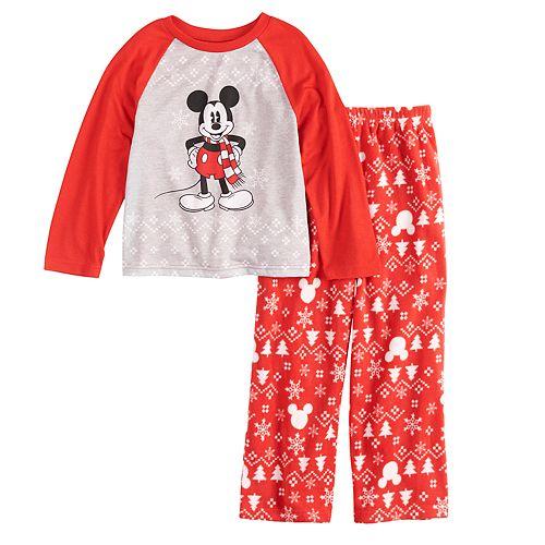 Disney's Mickey Mouse Boys 4-20 Mickey Top & Fairisle Microfleece Bottoms Pajamas Set by Jammies For Your Families
