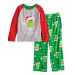 "Boys 4-12 Jammies For Your Families How the Grinch Stole Christmas Grinch ""Naughty"" Top & Microfleece Bottoms Pajama Set"