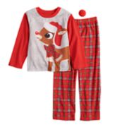 Boys 4-12 Jammies For Your Families Rudolph the Red-Nosed Reindeer Top & Plaid Bottoms Pajama Set with Red Nose Accessory