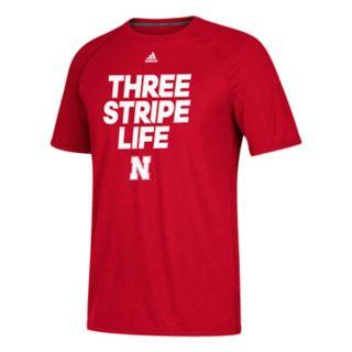 Men's adidas Nebraska Cornhuskers Striped Core Ultimate Tee
