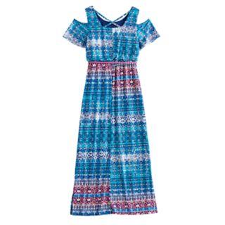Girls 7-16 Three Pink Hearts Cold Shoulder Cross Back Belted Maxi Dress