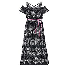 Girls 7-16 Three Pink Hearts Cold Shoulder Cross Back Belted Maxi Dress