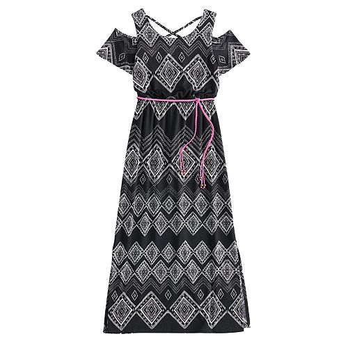 22f15bc16f31 Girls 7-16 Three Pink Hearts Cold Shoulder Cross Back Belted Maxi Dress