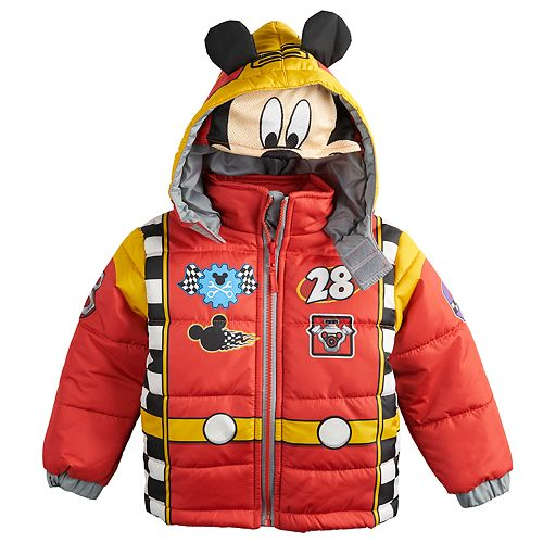 Disney's Mickey Mouse Toddler Boy Quilted Costume Hooded Heavyweight Jacket