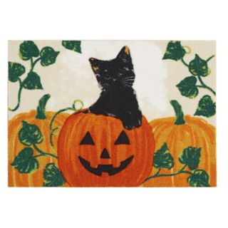 Celebrate Halloween Together Cat & Pumpkin Rug - 20'' x 30''