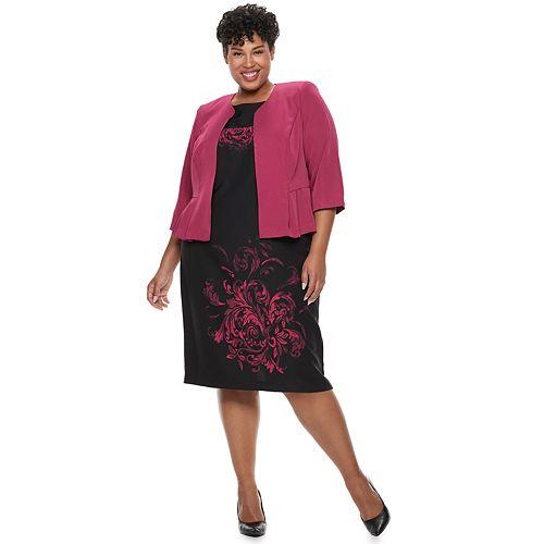 Plus Size Maya Brooke Scroll Dress & Jacket Set