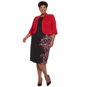 Plus Size Maya Brooke Paisley Print Jacket Dress