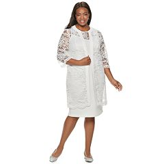 Plus Size Maya Brooke Lace Dress & Duster Set
