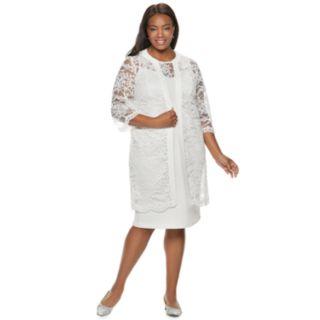 Plus Size Maya Brooke Lace Dress & Duster Set