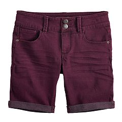 Girls 7-16 & Plus Size Mudd® Rolled Cuff Denim Bermuda Shorts