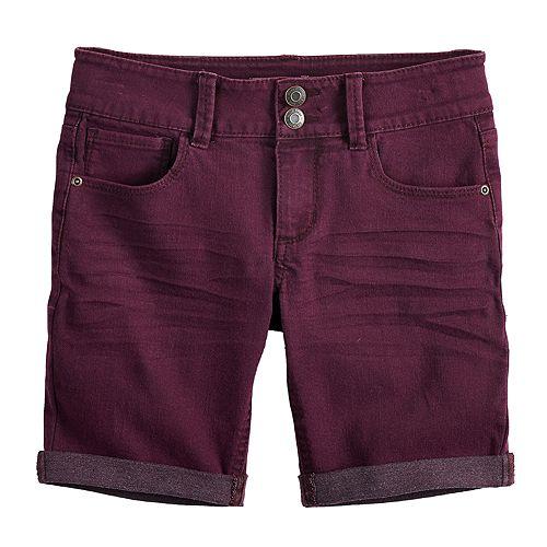 Girls 7-16 & Plus Size Mudd® Rolled Cuff Denim Bermuda Shorts