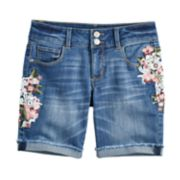 Girls 7-16 & Plus Size Mudd® Embroidered Floral Denim Bermuda Shorts
