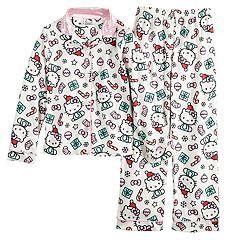 Girls 4-12 Hello Kitty® Christmas Top & Bottoms Pajama Set