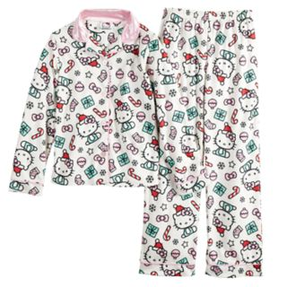 Girls 4-12 Hello Kitty® Christmas Top & Bottoms Pajama Set