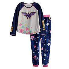 Girls 4-12 DC Comics Wonder Woman Top & Plush Bottoms Pajama Set
