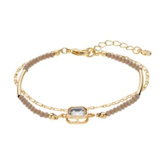 LC Lauren Conrad Gray Bead Double Strand Bracelet