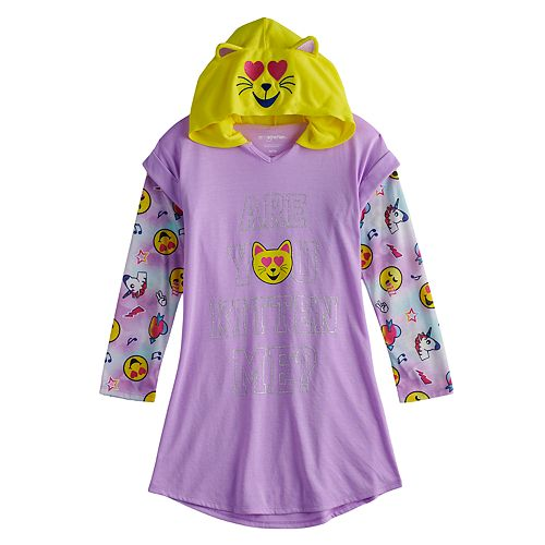 """Girls 4-12 """"Are You Kitten Me?"""" Hooded Mock-Layer Dorm Nightgown"""