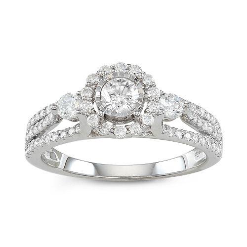 Simply Vera Vera Wang 14k White Gold 1 Carat T.W. Halo Diamond Ring