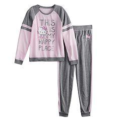 Girls 4-12 Hello Kitty® 'Happy Place' Top & Bottoms Pajama Set