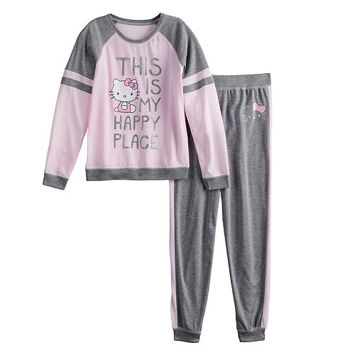 "Girls 4-12 Hello Kitty® ""Happy Place"" Top & Bottoms Pajama Set"