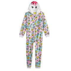 Girls 4-12 Emoji Hooded Unicorn Union Suit Coverall Pajamas