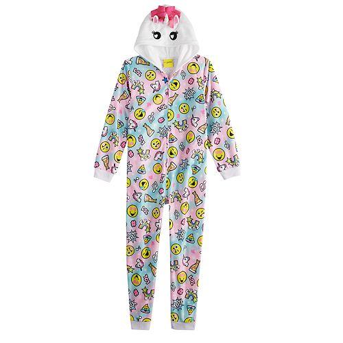 Girls 4-12 Emoji Hooded Unicorn Union Suit Coverall Pajamas