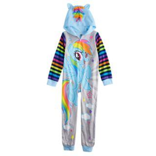 Girls 4-10 My Little Pony Rainbow Dash One-Piece Hooded Fleece Union Suit Footless Pajamas
