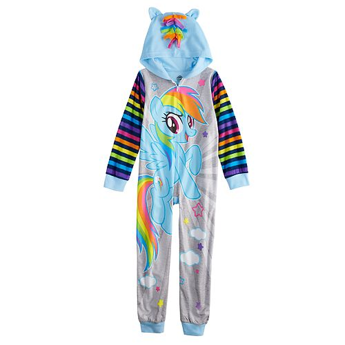 5578198f0 Girls 4-10 My Little Pony Rainbow Dash One-Piece Hooded Fleece Union ...