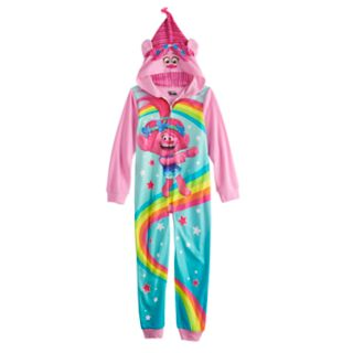 Girls 6-12 DreamWorks Trolls Poppy One-Piece Hooded Fleece Union Suit Footless Pajamas