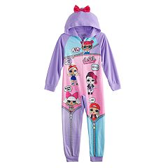 Girls 4-10 L.O.L. Surprise! Hooded One-Piece Fleece Union Suit Pajamas