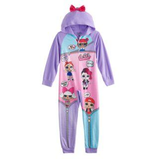 Girls 4-10 L.O.L. Surprise! Hooded One-Piece Fleece Union Suit Pajamas