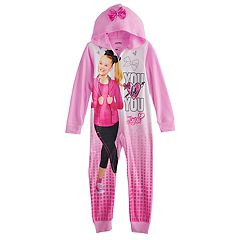 Girls 6-12 JoJo Siwa Hooded One-Piece Fleece Union Suit Pajamas
