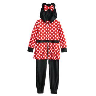 Disney's Minnie Mouse Girls 4-8 Fleece Skirted Union Suit Pajamas