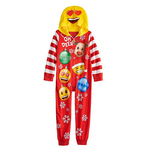 Girls 6-12 Emoji Holiday Union Suit Pajamas
